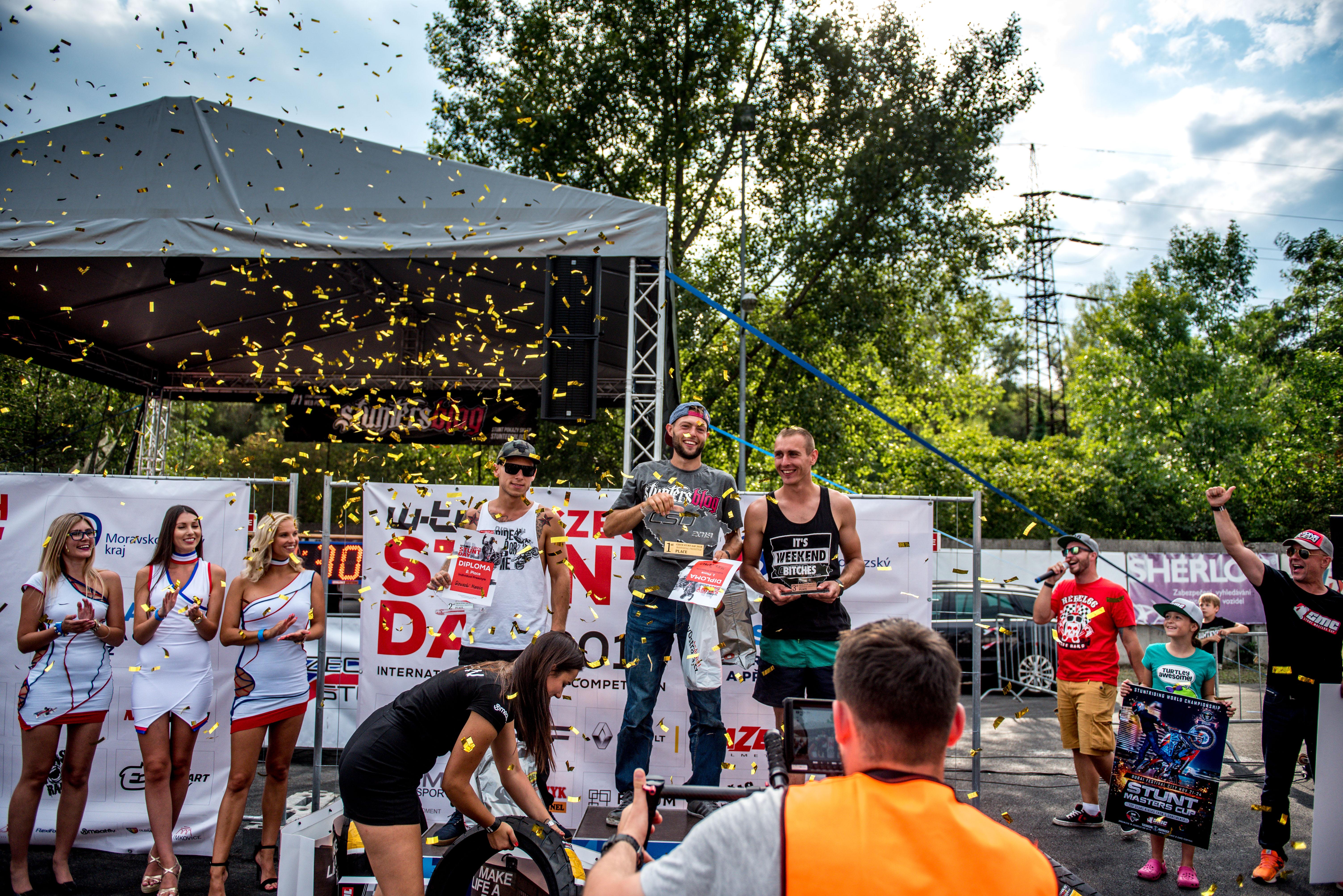 <p>International Streebike Competition Mike Jensen – Denmark Marcin Glowacki – Poland Pawel Karbownik – Poland Mistrovství ČR ve stuntridingu Jakub Kykal Patrick Peschel Míra Frey</p>